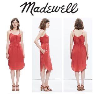 Skyway Tie-strap Silk Midi Dress - Warm Berry